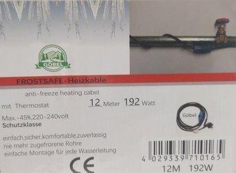 Kabel grzewczy przewód grzejny 12m z termostatem NIEBIESKI GOBEL