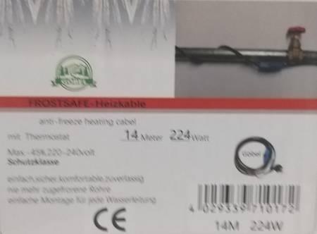 Kabel grzewczy przewód grzejny 14m z termostatem NIEBIESKI GOBEL